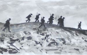 dessin soldats front